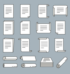 paper icon set in thin line style vector image