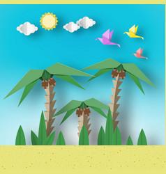 Paper origami concept landscape vector