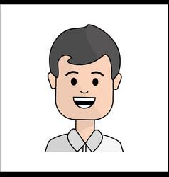 People happy face man icon vector