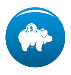 Pig money icon blue vector