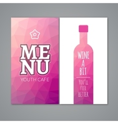 Polygonal wine menu design template Restaurant vector image