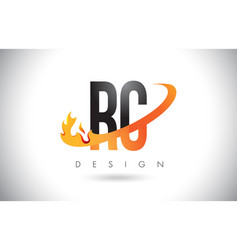 Rc r c letter logo with fire flames design and vector