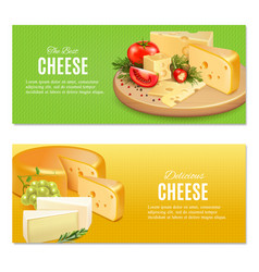 realistic cheeses horizontal banners vector image