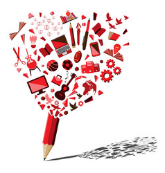 red pencil breaking with education and business vector image