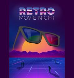 retro movie night poster design template vector image
