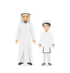 Saudi Arabia Traditional Clothes People vector image