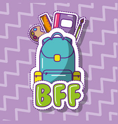 school backpack with book ruler palette brush bff vector image