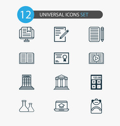 school icons set with academy building literature vector image