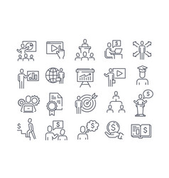 Set black and white business training icons vector