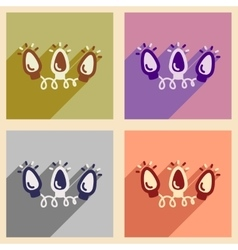 Set of flat icons with long shadow garland vector