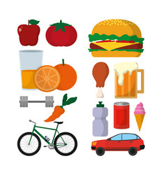 Set of healthy and unhealthy lifestyle vector