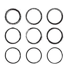 set of round frames painted with an ink brush vector image