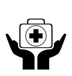 Sheltering hands and first aid kit icon vector