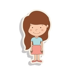 Silhouette girl brown hair with skirt and shadow vector