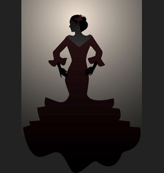 Silhouette of typical spanish woman wearing vector