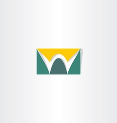 Stylized logo letter w green and yellow vector