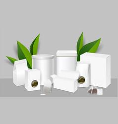tea packaging realistic mockup set vector image