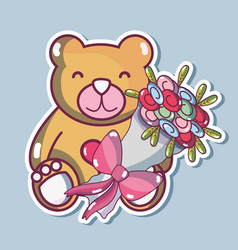 teddy bear design with bouquet flowers vector image