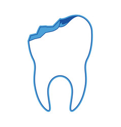 Tooth with root and broken in blue silhouette vector