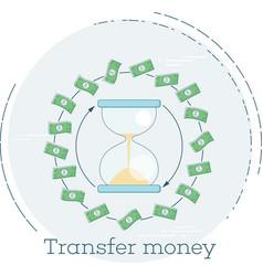 Transfer money concept in line art style vector