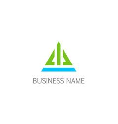 triangle shape line building company logo vector image