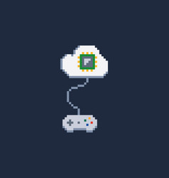 white pixel art 8 bit gamepad for game console vector image
