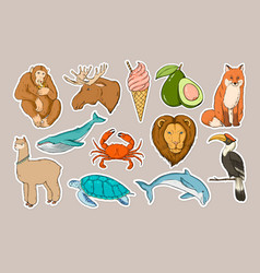 Wild life sticker colorful clipart set vector
