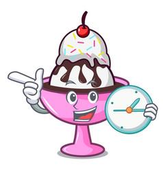 With clock ice cream sundae character cartoon vector