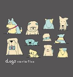 Dogs variation doodle pastel on dark grey vector