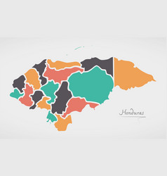 Honduras map with states and modern round shapes vector