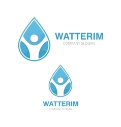 logo combination of a water drop and man vector image vector image
