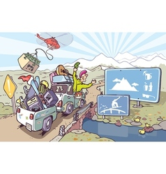 Road Trip to Mountains vector image vector image