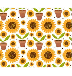 summer seamless pattern with yellow sunflower vector image