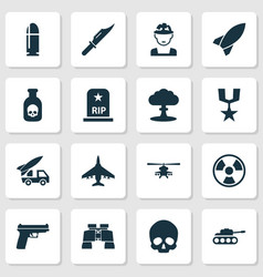 army icons set collection of panzer military vector image vector image