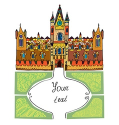 Castle background - sketchy hand drawn vector image