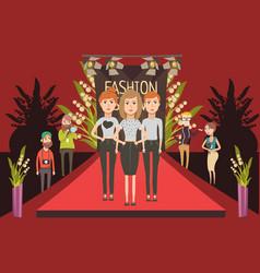 fashion show catwalk composition vector image vector image