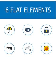 flat icons padlock camera gun and other vector image vector image