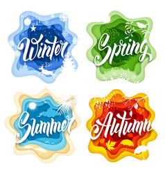 four seasons paper art vector image vector image