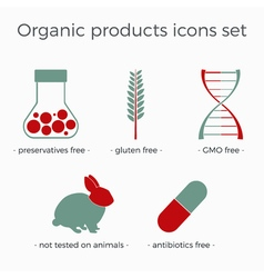 organic products icons set vector image vector image