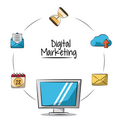Poster of digital marketing with lcd monitor in vector