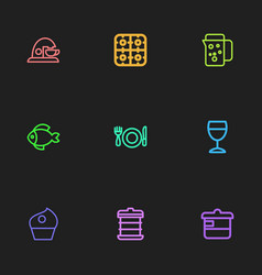 Set of 9 editable meal outline icons includes vector
