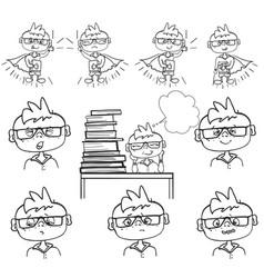 set of boy face emotions little boy sit at school vector image