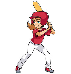 baseball batter girl vector image vector image