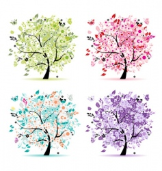 floral trees vector image vector image