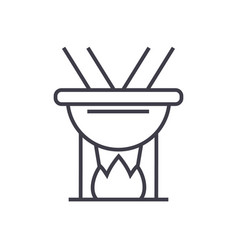 fondue line icon sign on vector image