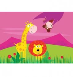giraffe lion monkey vector image vector image