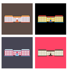 set of isolated city buildings icon public vector image vector image