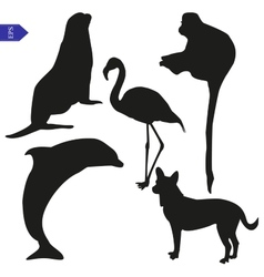 Set of silhouettes of animals vector image vector image