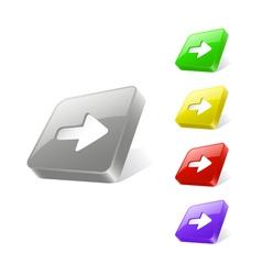 3d web button with arrow icon vector image vector image