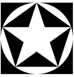 black and white star pentagon circle square vector image vector image